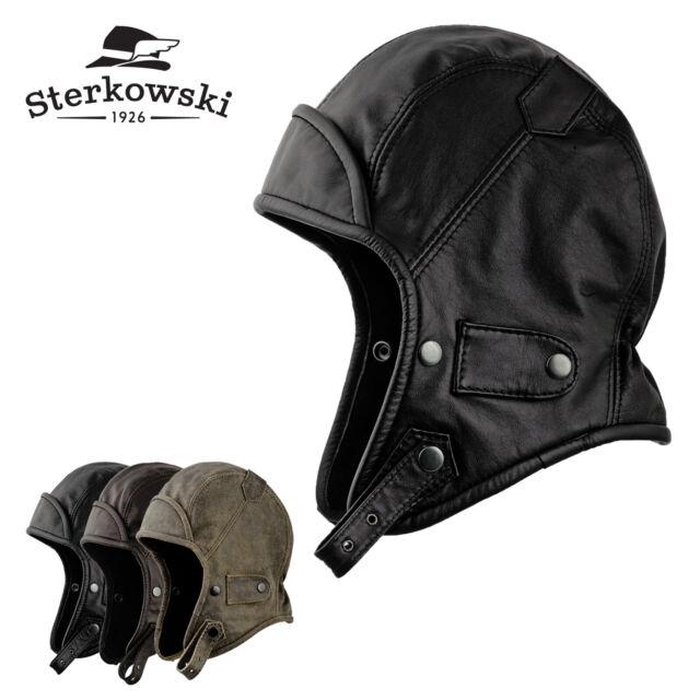 Sterkowski KATHMANDU Leather Aviator Hat Hood Vintage Pilot Biker Bomber