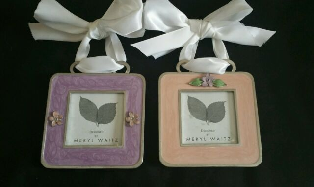 Meryl Waitz Contemporary Silver Enamel Picture Frames W Ribbon Hangers