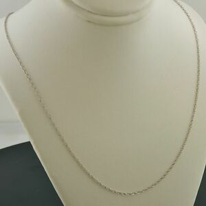 7c06660462e 14K WHITE GOLD 1.2mm MACHINE MADE ROPE LINK 18 INCH PENDANT CHAIN