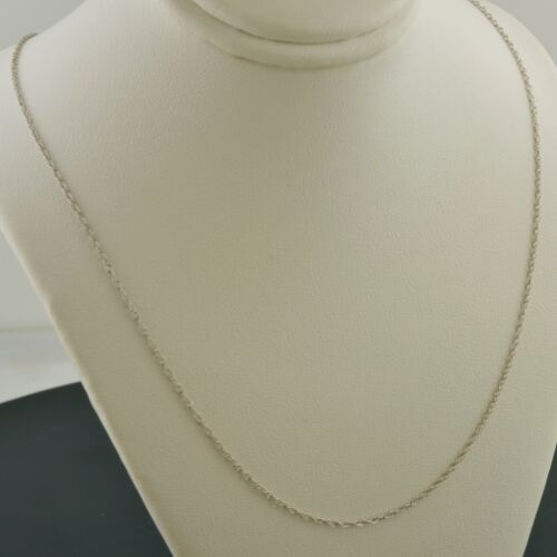 Details about  /14K WHITE GOLD 1.2mm MACHINE MADE ROPE LINK 18 INCH PENDANT CHAIN