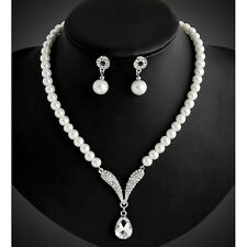 Korean Fashion Women Pearl Jewelry Set Choker Statement Necklace and Earrings