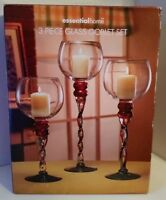Essential Home 3 Piece Goblet Set - Swirl Stem