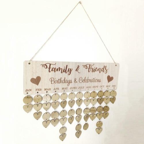 Wooden Family Dates Mark Reminder Sign DIY Calendar Board Home Hanging Deor NEW