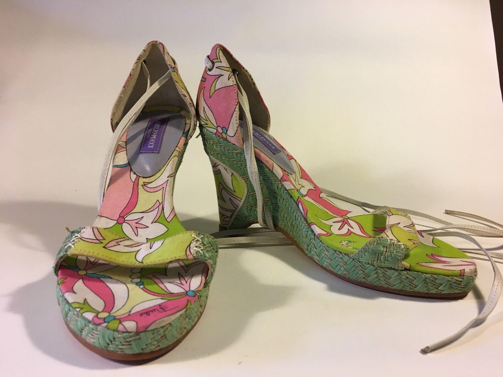 PUCCI Vendita!!! cinturini Multi Colore Zeppa Primavera Estate Scarpa con cinturini Vendita!!! alla caviglia 7 8eb749