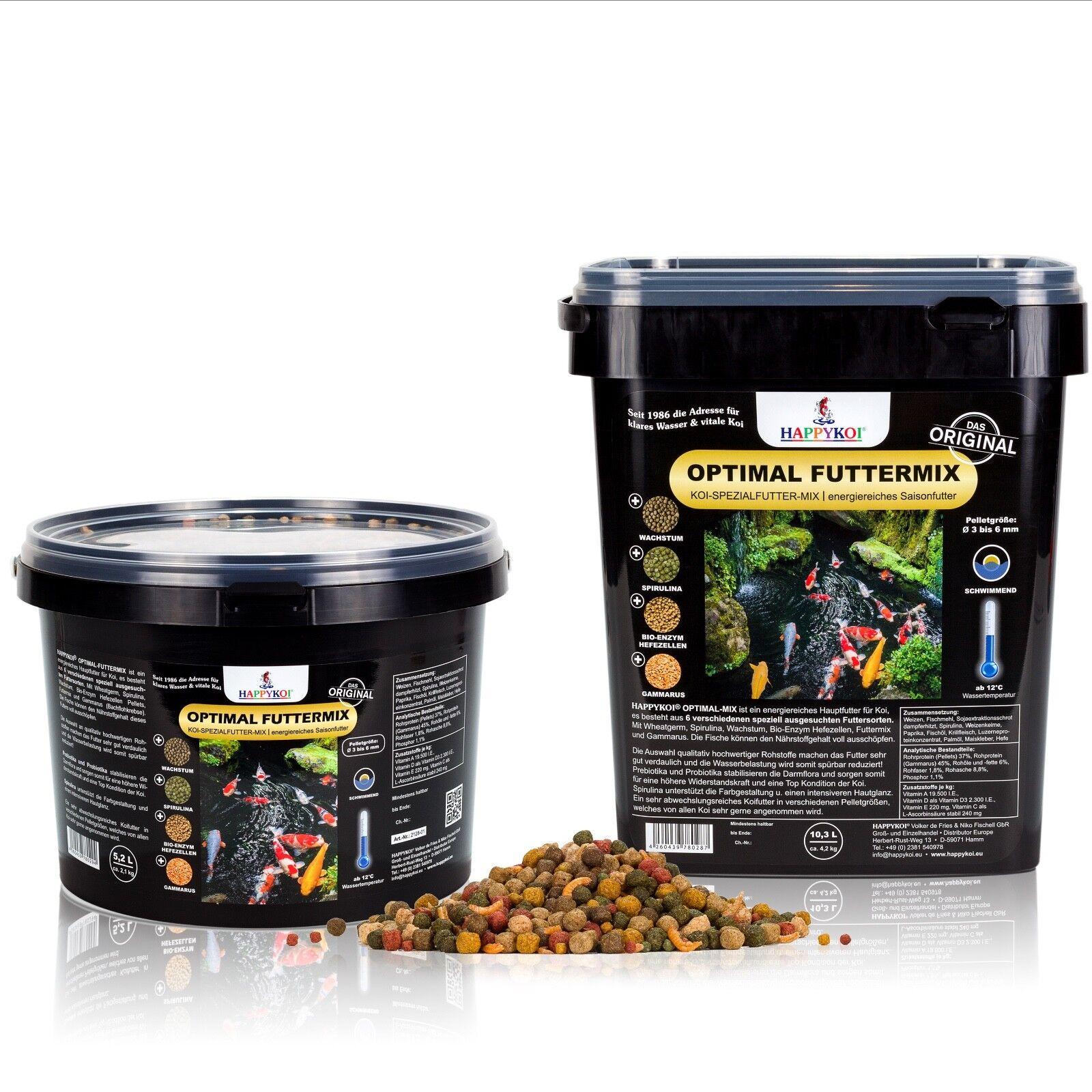 HAPPYKOI® OPTIMAL MIX Koi Fisch Spezial Pellet Futter Mix 3 - 6 mm   5 bis 20 L