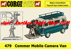 Corgi-Toys-479-Camara-Movil-Commer-van-cartel-A4-tamano-Tienda-Pantalla-signo-prospecto