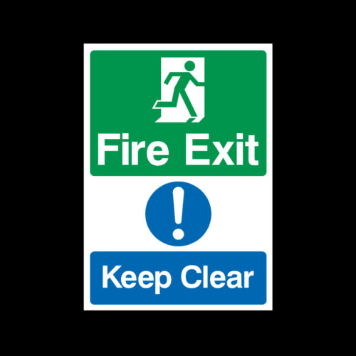 MISC13 All Sizes A5 A4 Fire Exit Keep Clear Rigid Plastic Sign OR Sticker