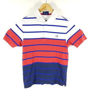 Fred-Perry-Poloshirt-Herren-S-Weiss-Blau-Rot-Gestreift-Kurzarm-Regular