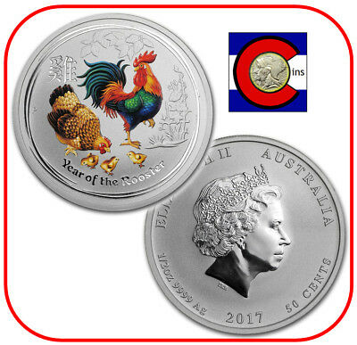2017 Lunar Australia Rooster 1 oz Colorized /& 1 oz Bullion 2 Silver Coins