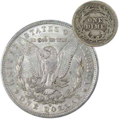 1888 O $1 Morgan Silver XF EF Extremely Fine w// 1913 Barber 10c Good Coin Lot
