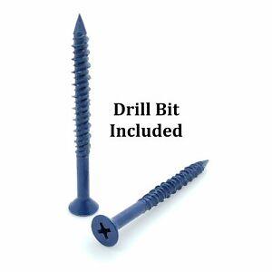 100-Qty-3-16-034-x-2-1-4-034-Flat-Head-Phillips-Diamond-Tip-Concrete-Screws-To-Anchor
