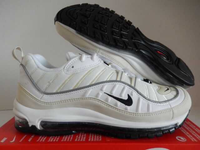 NIKE AIR MAX 98 WHITE BLACK FOSSIL SZ 12 WOMENS MENS SZ 10.5 [AH6799 102]
