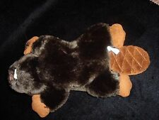 """The Bearington Collection BEAVER 9"""" Brown Plush Quilted Tail Stuffed Soft Toy"""