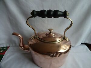 ANTIQUE-VICTORIAN-COPPER-amp-BRASS-KETTLE-TIN-LINING-HEIGHT-24-X-24-cm
