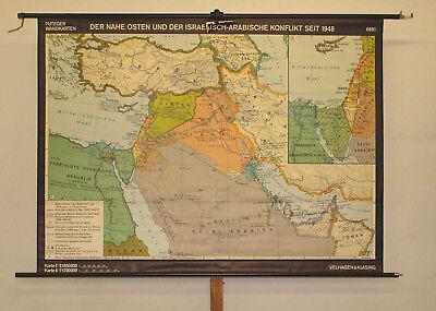 Stumme Karte Naher Osten.Schulwandkarte Der Nahe Osten Und Der Israelisch Arabische Konflikt 195x143 1970 Ebay