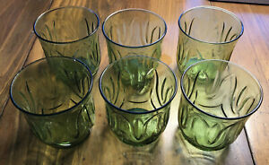 Vintage-Anchor-Hocking-Milano-Green-Flat-Juice-Glasses-Avacado-Green-Set-Of-Six