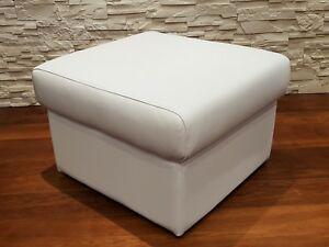 Weiß Echt Leder Hocker Sitzhocker Fußhocker 60x55 Echtleder Puff