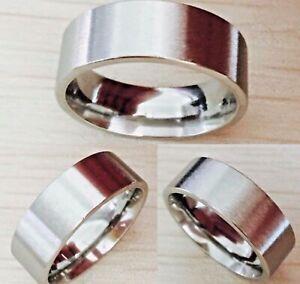 8mm-Titanium-Steel-Mens-amp-Womens-Wedding-Band-Silver-Unisex-Thumb-Comfort-Ring