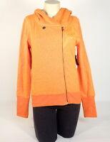 Fox Orange Integrate Off Center Zip Front Hooded Sweatshirt Hoodie Women