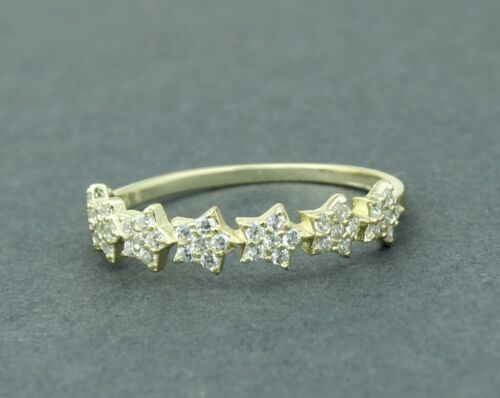 Women //Girl 925 sterling silver Delicate Gold CZ Lucky Star Ring //Joint Ring 7-8