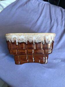 """Vintage Planter Brush Usa (McCoy) Basket Weave Brown 6"""" X 4"""""""