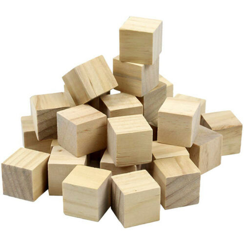 Small Blank Plain Wood Cube Stacking Blocks//Puzzle Game Piece//Dice Set Z