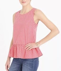 Details about J Crew Factory Womens Printed Bow Back Peplum Tank Top Sz XS Pink Gingham NWT