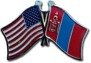 Wholesale Pack of 6 USA American Mongolia Friendship Flag Hat Cap lapel Pin