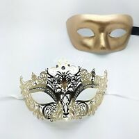 His & Hers Couples Collection Luxury Phantom Masquerade Mask Set [gold Themed]
