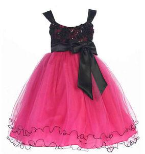 Stunning-Girl-039-s-Chic-Fuchsia-Black-Flower-Girl-Pageant-Party-Dress-USA