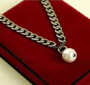 mode plastron exagéré vintage Collier Chaine maille épaisse /& perle blanche