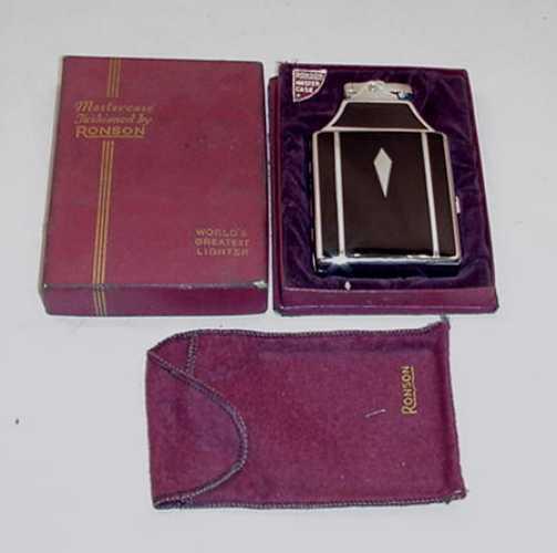 FABULOUS VINTAGE RONSON ART DECO CASE LIGHTER WITH ORIGINAL BOX