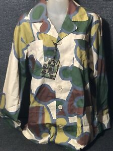 Vtg-BAPE-A-Bathing-Ape-Military-CAMO-Safari-BUTTON-Shirts-4-Pocket-RARE-Men-L