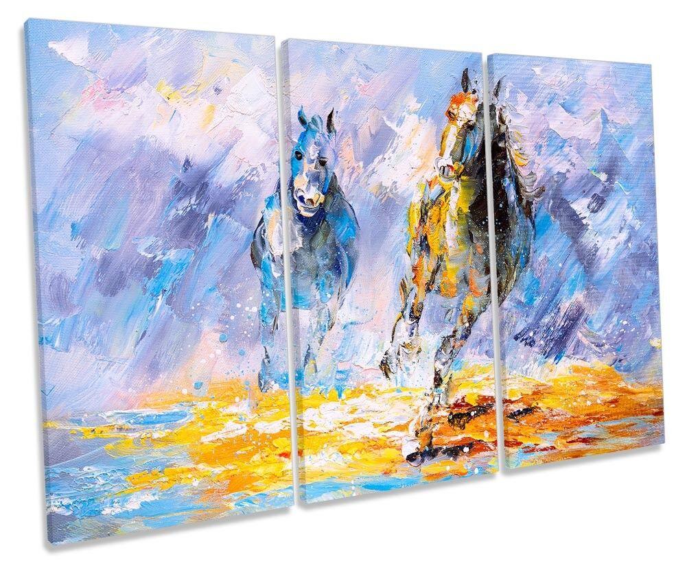Horses Galloping Blau Repro TREBLE CANVAS WALL ARTWORK Print Print Print Art 4302ee
