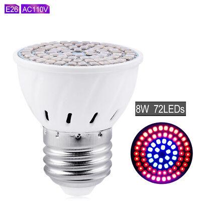 E27 E26 LED GROW LIGHT RED//BLUE SPECTRUM INDOOR PLANT FLOWER LAMP 4W 6W 8W CE6C