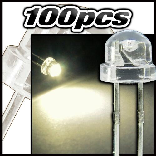 446/100# LED grand angle blanc chaud  100pcs  straw hat LED 4,8mm warm white