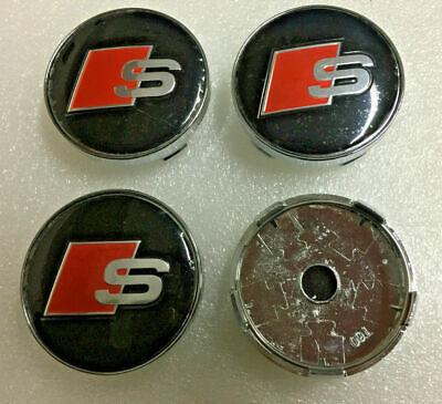 Carbon Fib Audi Alloy Wheel Centre Caps x4 60mm 4B0601170 A 1 2 3 4 5 6 7 Q RS