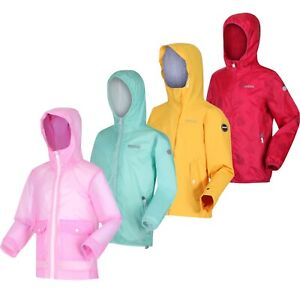 Regatta Girls Kids Lightweight Hooded Waterproof Rain Jacket Coat RRP £50