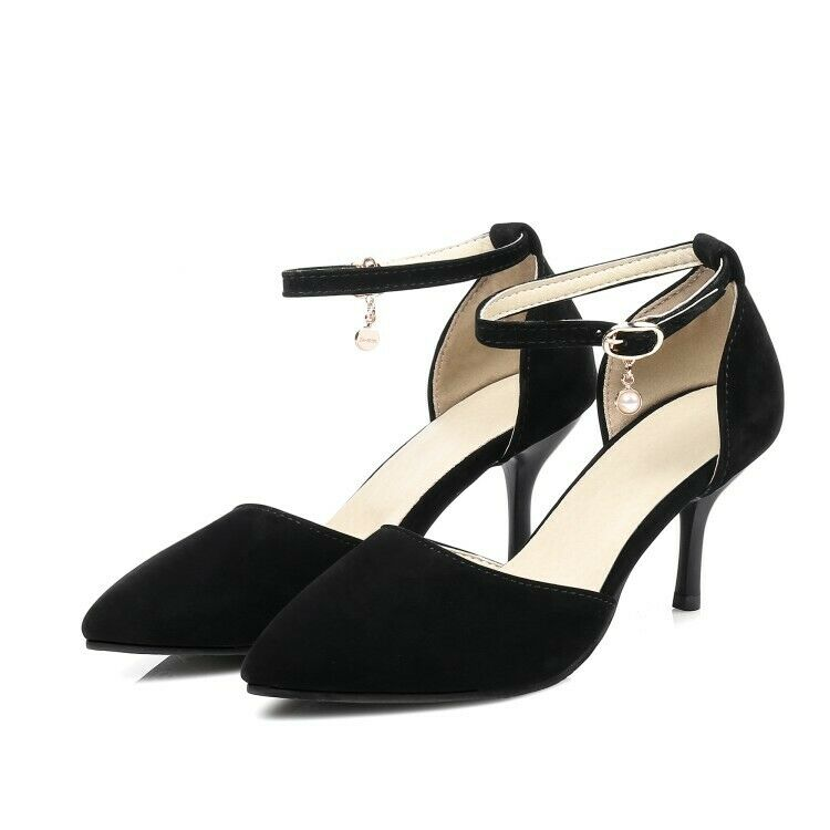 Women Elegant Pumps Slim Heels Pointed Toe Beads Ankle Buckle Strap Party shoes