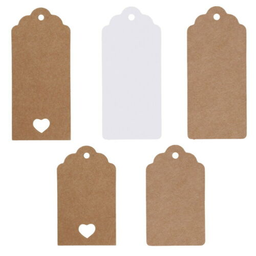 50pcs Kraft Paper Gift Tags Scallop Label Luggage Wedding Blank Strings H1