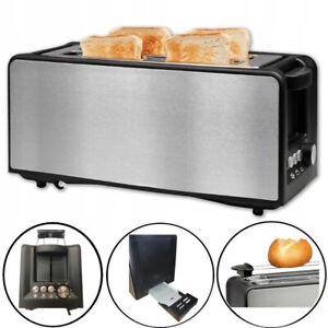 Toaster Edelstahl 4 Scheiben Langschlitz Brötchen Aufsatz Sandwich 1400W