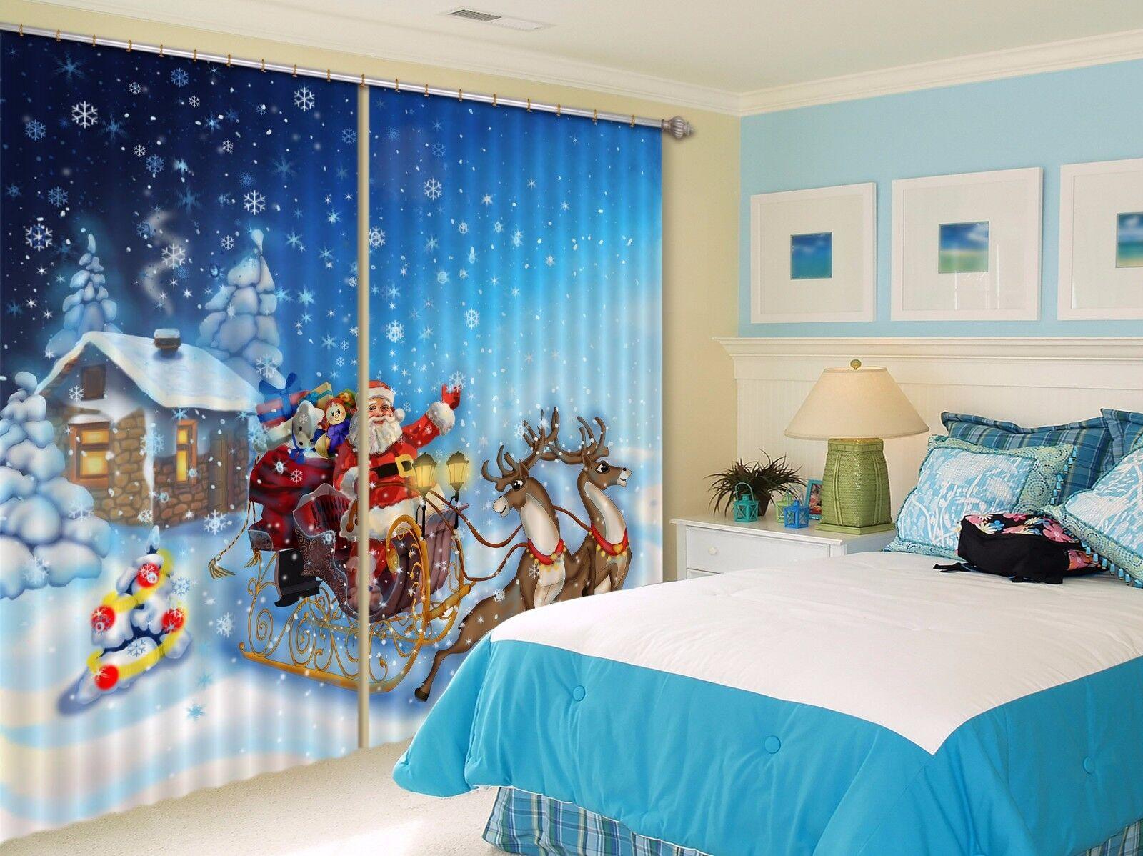 3D Santa Claus 634 Cortinas de impresión de Cortina Blockout Foto Tela Cortinas Ventana Reino Unido