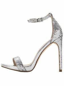 e17d3390f1b5da Ladies Evening Shoes Size 5 Silver High Heels Ankle Strap Glitter ...