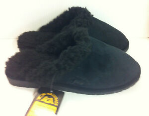 Dawgs Doggers Faux Fur Fleece Lined Clogs Shoes Scuffs Slippers Mens Black