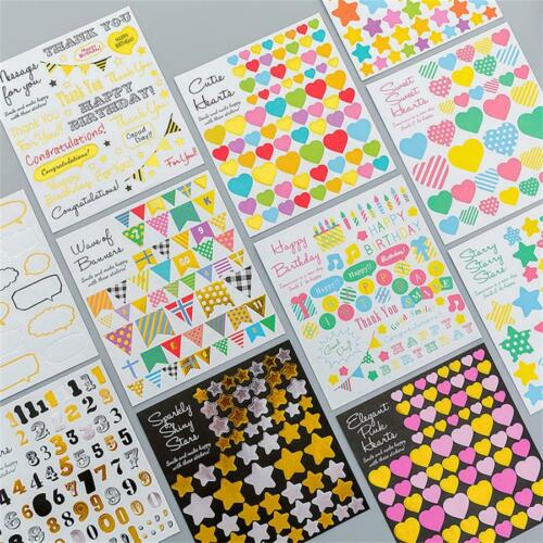 Star Heart Shaped Sticker Geometry Scrapbooking Diary Stickers DIY Crafts Decals