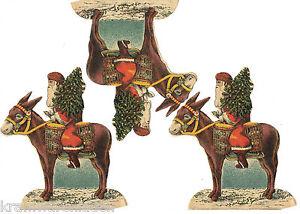 3-uralte-Papier-Oblaten-Weihnachtsmann-auf-Esel-DIE-CUT-SCRAPS