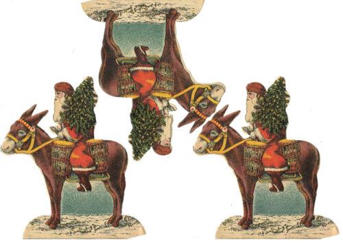 3 uralte Papier Oblaten Weihnachtsmann auf Esel DIE CUT SCRAPS