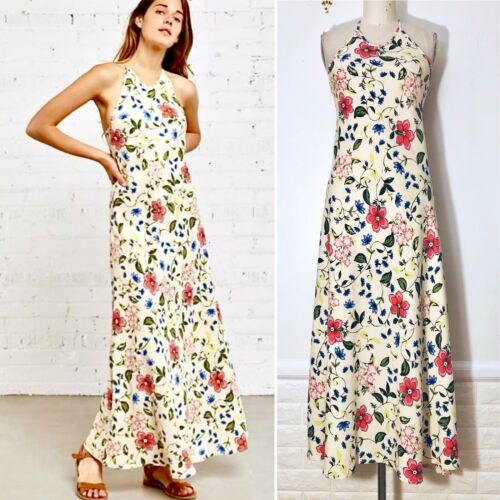Christy Dawn Size M Cream Floral Rayon Brushed Twi