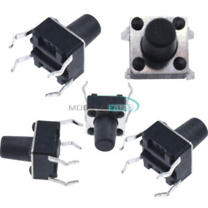100Pcs Black Tactile Push Button Switch Tact Switch 6X6X13mm 4-pin DIP NEW