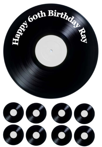 """ICING SHEET plus 8 Toppers Personalised Record Vinyl 7.5/"""" Round"""